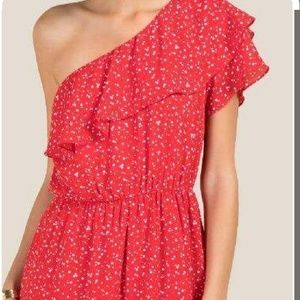 One shoulder polka dot romper